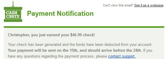 Cash Create Payment Notification