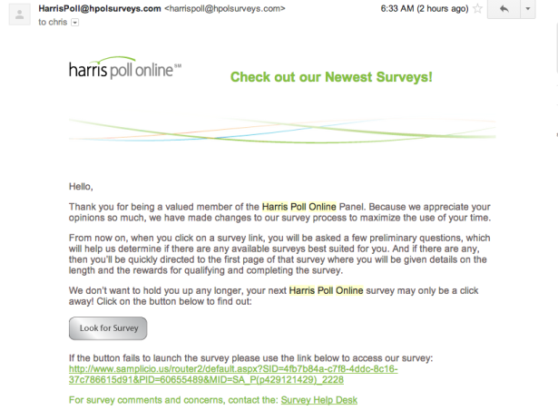 Harris Poll Email