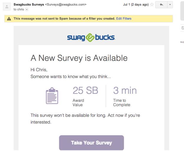 Swagbucks Email Invite
